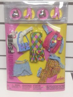 Barbie Fashion Fever 3 Interchangeable Outfits Plaid Dress Top Capris Skirt NRFB