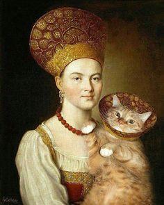 woman, cat