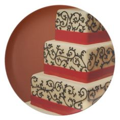 White wedding cake black laces red ribbon party plates