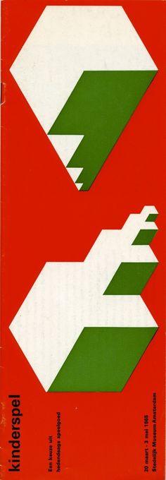 """kinderspel""( child's play ), Exhibition Catalog, Stedelijk Museum, Amsterdam., 1965 Vintage Typography, Typography Poster, Graphic Design Typography, Retro Design, Design Art, Print Design, Principles Of Design, Catalog Design, Exhibition Poster"