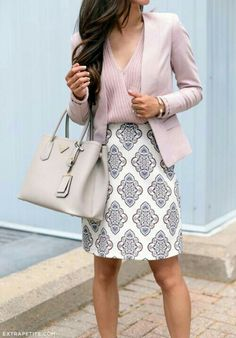 The skirt is adorable. I love the length (perfect) and the pattern. I also like the top and blazer