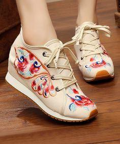 This Beige Floral Butterfly Embroidered Wedge Sneaker is perfect! Cute Sneakers, High Top Sneakers, Comfortable Wedges, Beige Style, Canvas Sneakers, Wedge Heels, Athletic Shoes, Butterfly, Floral