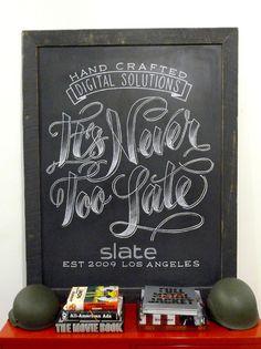 Chalkboard artwork for Slate Studio in Los Angeles.