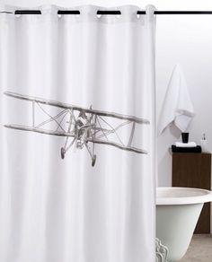 Perdea dus alba Avion Biplan Retro pentru o baie Vintage Exterior Design, Interior And Exterior, Curtain Shop, White Shower, Interiors Online, Vintage Airplanes, Home Accessories, Interior Decorating, Curtains