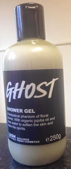 "Ghost Shower Gel: ""A fantastical phantom of floral scents. With organic jojoba oil and rose water to soften the skin and raise the spirits"""