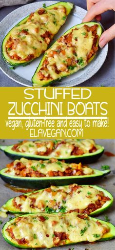 Stuffed zucchini boats with bell pepper, chickpeas, and vegan cheese! This is a simple vegetarian weeknight dinner, side dish or entrée which contains healthy wholesome ingredients. The recipe is meat Tasty Vegetarian Recipes, Vegetarian Recipes Dinner, Easy Healthy Recipes, Whole Food Recipes, Recipes With Zucchini Vegetarian, Simple Zucchini Recipes, Yummy Easy Dinners, Easy Vegitarian Dinner Recipes, Veggie Meat Recipes