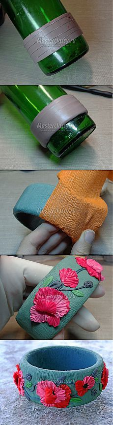 Цельный браслет из пластики «Цветущие маки». Пошаговый мастер-класс по изготовлению оригинальной бижутерии из полимерной глины