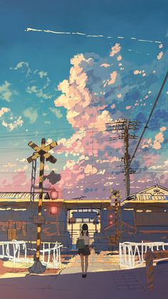 It's hard looking at the illustrations by Kouki Ikegami not to feel that you are looking at concept art for a great anime movie. Anime Backgrounds Wallpapers, Anime Scenery Wallpaper, Aesthetic Pastel Wallpaper, Aesthetic Backgrounds, Animes Wallpapers, Cute Wallpapers, Aesthetic Wallpapers, Dark Wallpaper, Wallpaper Wallpapers