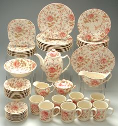 Image detail for -Discontinued Queen's China Rose Chintz Microwave Safe Dinnerware