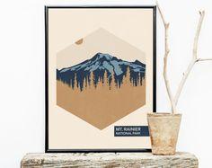 Hiking Travel Poster Vintage - Washington - National Park Poster - Mt. Rainier National Park  - Romantic Wall Art – Posters – Wall Hanging