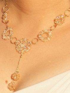 Bridal Necklace  Swarovski Crystals 14K Gold by ChayaGallery