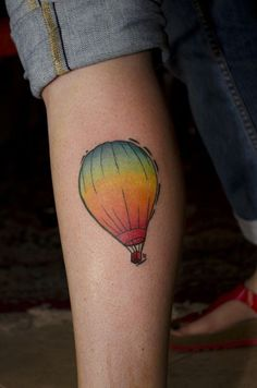 simple and colourful hot air balloon tattoo - Design of Tattoos