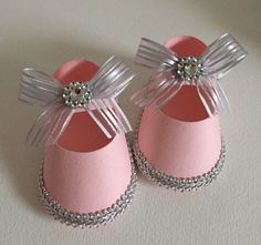 Baby Shower, Christening Girl's Shoe Favor Boxes, Light Pink & Silver, 10  | eBay