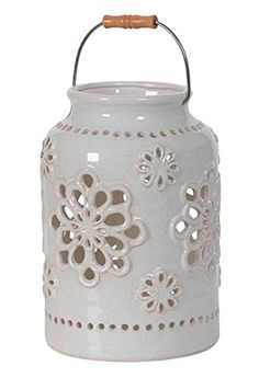 Hill's Imports Decorative Pottery Lantern, 10-Pound, White