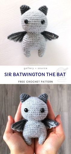 LIttle Ami Bats Flaying Sir Batwington Bat Sweet Softies Free Amigurumi Pattern This is a very easy and quick to make tiny bat with a simple design. It has little wings ready to fly and big sweet eyes. Crochet Amigurumi Free Patterns, Crochet Animal Patterns, Stuffed Animal Patterns, Crochet Animals, Crochet Bat, Crochet Mignon, Cute Crochet, Crochet Birds, Softies