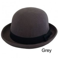 Unisex Vintage 100% Wool Trendy Bowler Hat Grey