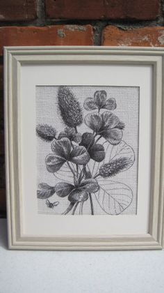 Burlap Wall Art Botanical on White Burlap Home by SunBeamSigns, $21.00