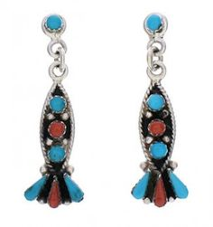 Coral And Turquoise Southwest Post Dangle Earrings