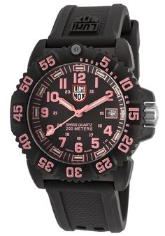 Luminox Women's Navy Seal Colormark 7050 Black Silicone Black Dial Pink AccentLuminox 7065 Watch