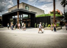 Starbucks Downtown Disney Orlando. The green roof is lemon grass and was grown in grounds from Starbucks Coffee.