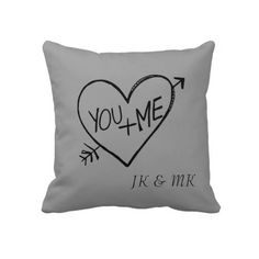 You and Me Heart pillow with your initials