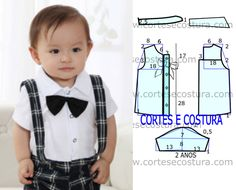 Free shirt template for kids Baby Dress Patterns, Baby Clothes Patterns, Sewing Patterns For Kids, Sewing For Kids, Baby Sewing, Baby Boy Outfits, Kids Outfits, Christening Gowns, Baby Kind