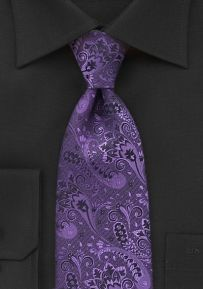 Embroidered Floral Tie in Purple