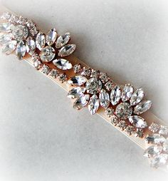 "Rose Gold Crystal Skinny Sash, Skinny Belt, Bridal Sash, Wedding Belt, Rhinestone Bridal Sash, 24.5"" of Crystals - ARIANNA"