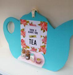 Shabby chic romantic handmade tea pot by ManthaCreaMiniatures