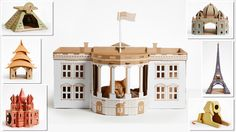 Cardboard 'Landmark' play houses for cats, dogs & small pets