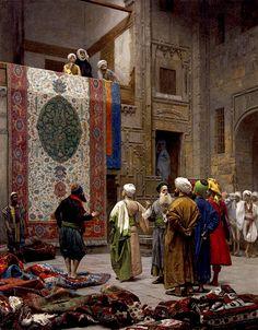 """Jean-Leon Gerome (1824-1904)  The Carpet Merchant  Oil on canvas  1887  64.7 x 83.5 cm  (25.47"""" x 32.87"""")"""