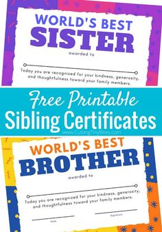 Print one of these bright and colorful sibling certificates to award your to children when they're caught being a World's Best Sister or Brother! Reward good behavior with this positive parenting strategy. Fun Activities To Do, Infant Activities, Learning Activities, Gentle Parenting, Kids And Parenting, Parenting Ideas, New Baby Crafts, New Sibling, Family Theme