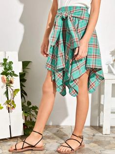 Girls Tie Front Hanky Hem Tartan Skirt – Kidenhouse