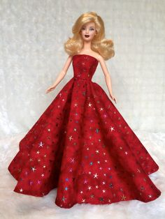 Handmade Barbie Clothes Dark Red Gown With by AnjelzfeetDesigns