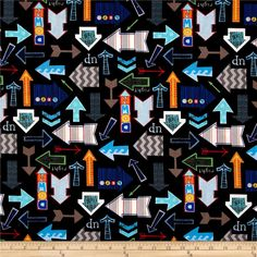 On Track Arrows Black from @fabricdotcom  Designed by Jill McDonald for P&B Textiles, this cotton print includes colors of grey, red, green, orange and turquoise.  Use for quilting, apparel and home decor accents.