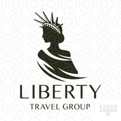 Logo Sold Prestigious, upscale and modern design of this beautiful feminine woman wearing the liberty crown. The woman is wearing an elegant draping gown that flows of her shoulder.