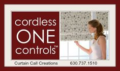 Roman shade with cordless one control.     Curtain Call Creations serving   Naperville, Lisle , Wheaton, Hinsdale , Downers Grove