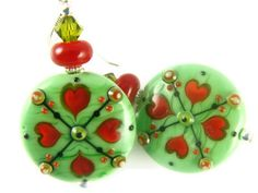 Lampwork Earrings Christmas Earrings Green Beaded by JadjusJewelry, $45.00