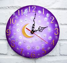 The Purple Moon and Stars Wall Clock Home Decor for Children Baby Kid Girl Nursery Playroom by ArtClock on Etsy