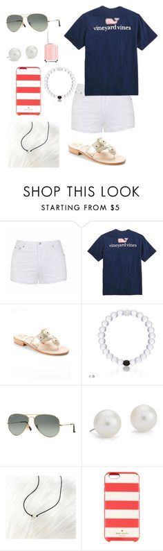 """A preppy summer"" by madelineholdren on Polyvore featuring Ally Fashion, Vineyard Vines, Jack Rogers, Ray-Ban, Blue Nile, Kate Spade and Essie"