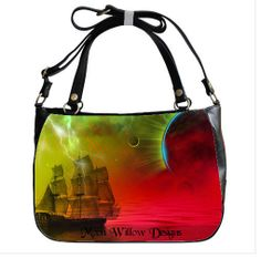 Leather Purse Fantasy Storm Ship Red Sea by MoonWillowDesigns, $89.99