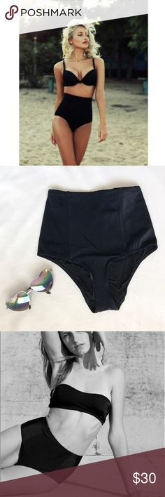 • High Waisted Bikini Bottom • The fabric on this black bikini bottom is ribbed & stretchy to slim down the tummy area very well! Mix-n-match with your favorite bathing suit top ☀️ American Apparel Swim Bikinis