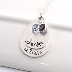 Custom Made Personalized Mother's Necklace | Stacked Teardrop Necklace For Mom