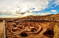 Göbekli Tepe - is a Neolithic hilltop sanctuary erected at the top of a mountain ridge in the Southeastern Anatolia Region of Turkey, some 15 kilometers (9 mi) northeast of the town of Şanlıurfa (formerly Urfa / Edessa). It is the oldest known human-made religious structure. The site was most likely erected by hunter-gatherers in the 10th millennium BCE