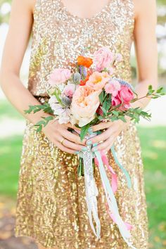 Gold sequin bridesmaid dresses | photo by Ariane Moshayedi Photography
