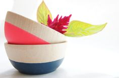 Wooden Mini Bowl Set of Two Neon Pink and by WindandWillowHome, $16.00
