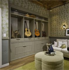Music room - guitar storage - an alternative to the usual hanging arrangement.