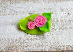 Flower Brooch Polymer clay brooch Pink roses by InnaMasiDesign