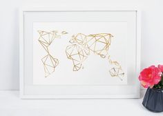Artprint / Geometrische Erde / gold von Eulenschnitt auf DaWanda.com, 15 €