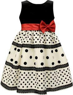 Sorbet Velvet & Polka-Dot Dress, Size 7-12